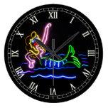 Sirena en neón reloj