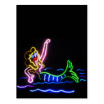 Sirena en neón tarjeta postal