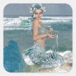 Sirena en roca colcomanias cuadradass