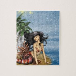 Sirena en rompecabezas de la playa