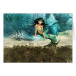 Sirena en tarjetas de felicitación del suelo marin