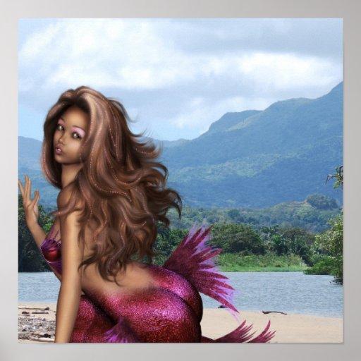 Sirena en un banco de arena póster