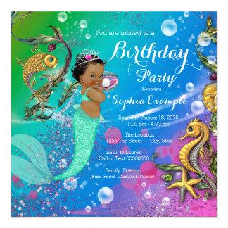 """Sirena étnica bajo fiesta de cumpleaños del mar invitación 5.25"""" x 5.25"""""""