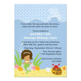 Sirena étnica con la invitación del cumpleaños del invitación 12,7 x 17,8 cm