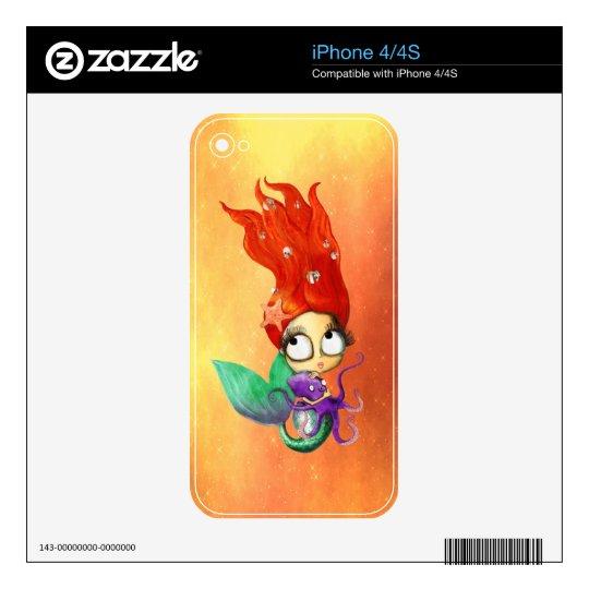 Sirena fantasmagórica con el pulpo iPhone 4 skins