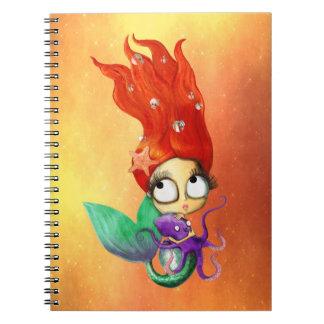 Sirena fantasmagórica con el pulpo libro de apuntes con espiral