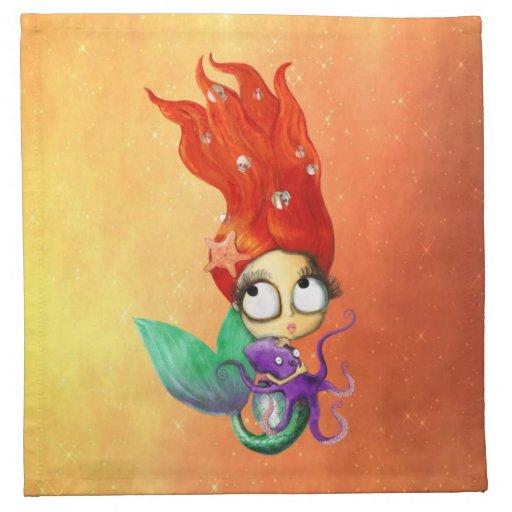 Sirena fantasmagórica con el pulpo servilleta