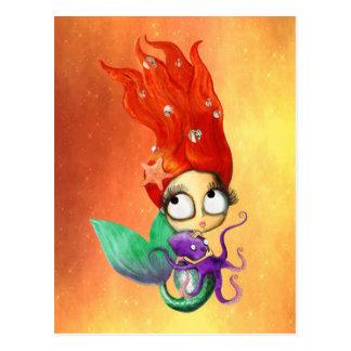 Sirena fantasmagórica con el pulpo tarjeta postal