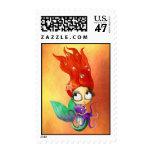 Sirena fantasmagórica con el pulpo timbres postales
