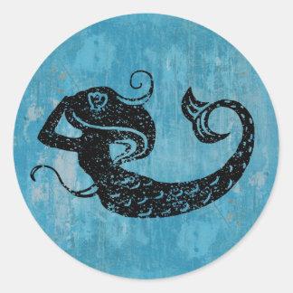 Sirena gastada pegatina redonda