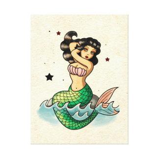 Sirena hermosa de la escuela vieja lona envuelta para galerias