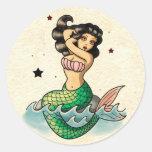 Sirena hermosa de la escuela vieja pegatinas redondas