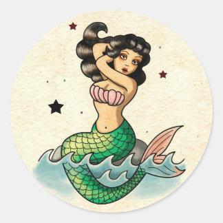 Sirena hermosa de la escuela vieja pegatina redonda