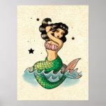 Sirena hermosa de la escuela vieja poster