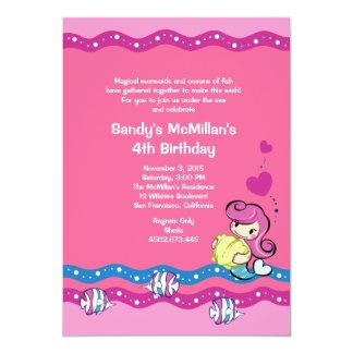 Sirena - invitación submarina rosada de la fiesta