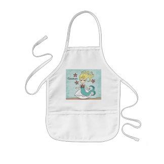 Sirena linda a personalizar delantal infantil