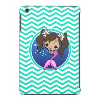 Sirena linda; Aguamarina Chevron verde Funda Para iPad Mini Retina