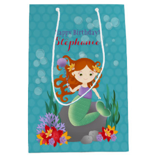 Sirena linda bolsa de regalo mediana