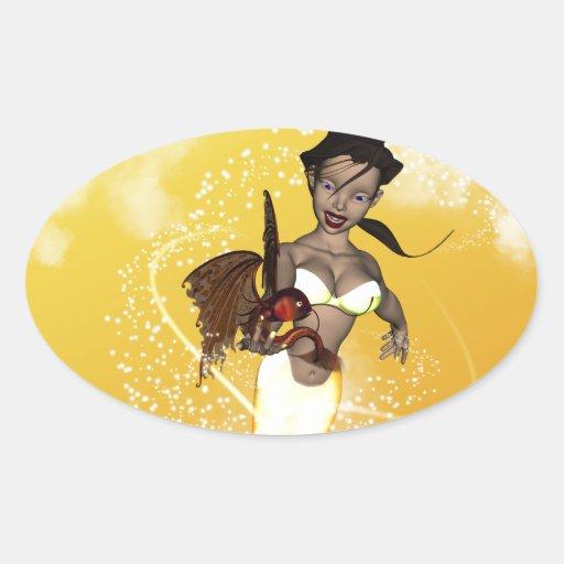 Sirena linda con los pescados divertidos pegatinas de oval personalizadas