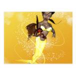 Sirena linda con los pescados divertidos tarjetas postales