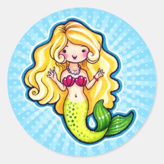 Sirena linda de Kawaii Chibi, arte de la hada de l Pegatina