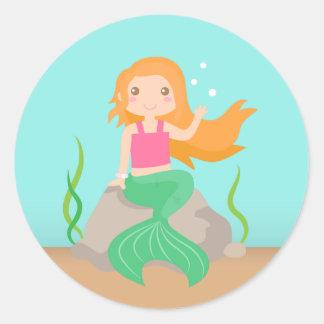 Sirena linda debajo del mar, para los chicas pegatina redonda