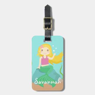 Sirena linda del océano, para los chicas etiquetas maleta