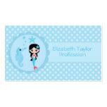 Sirena linda en azul tarjetas de visita