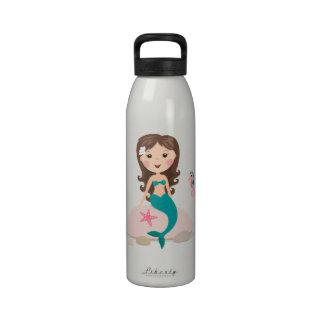 Sirena linda en la botella de agua del personaliza