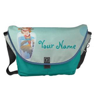 Sirena linda en un vidrio bolsas de mensajeria