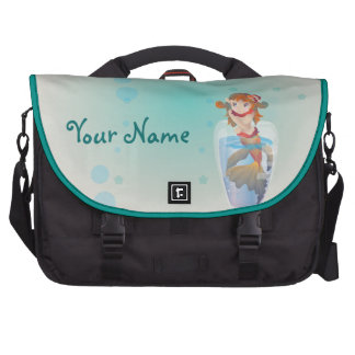 Sirena linda en un vidrio bolsas para portátil
