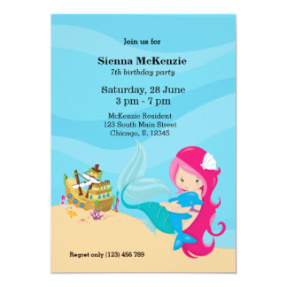 """Sirena linda invitación 5"""" x 7"""""""