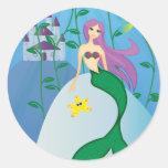 Sirena linda pegatina redonda