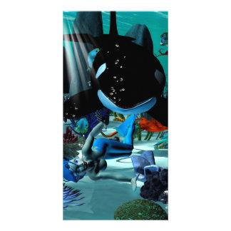 Sirena linda tarjeta fotográfica