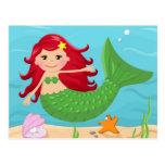 Sirena linda tarjeta postal