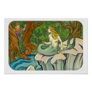 Sirena Lorelei y príncipe Enchanted Poster