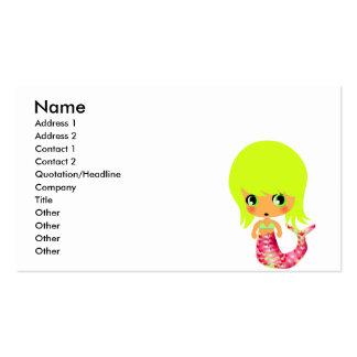 sirena mágica 3 del chibi tarjetas personales