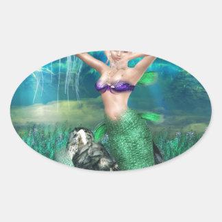 Sirena mágica pegatina ovalada