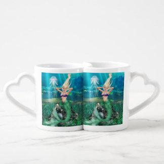 Sirena mágica tazas para enamorados