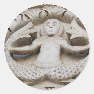 Sirena medieval pegatina redonda