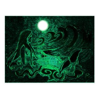 Sirena metálica del mar tarjetas postales