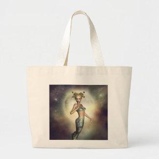 Sirena mística de la luna bolsa tela grande