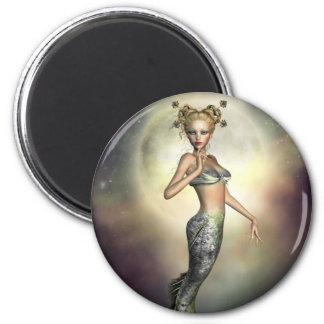 Sirena mística de la luna imán redondo 5 cm