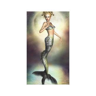 Sirena mística de la luna impresiones en lienzo estiradas