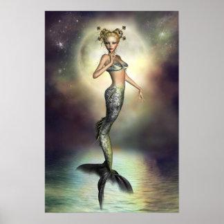 Sirena mística de la luna póster