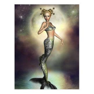 Sirena mística de la luna tarjetas postales