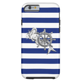 Sirena náutica del cromo en la impresión de las funda para iPhone 6 tough