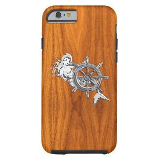 Sirena náutica del cromo en la impresión de madera funda de iPhone 6 tough