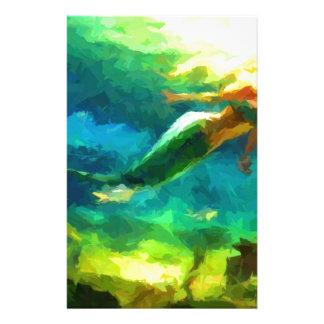sirena, océano, fantasía, poco, pescado papeleria