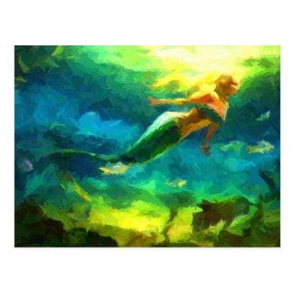 sirena, océano, fantasía, poco, pescado tarjeta postal